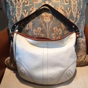 Coach leather hobo bag with tassel